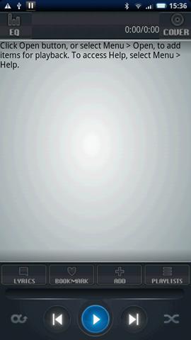 Xperia(エクスペリア)で画面キャプチャしたAstro Player Beta プレイリストのエラー画面