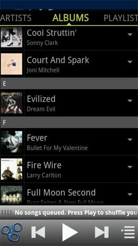 Xperia(エクスペリア)にインストールしたネットワークプレーヤーアプリPowerAudiogalaxy Musicのアルバム画面ではジャケット(カバーアート)画像が表示される