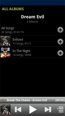 Xperia(エクスペリア)にインストールしたネットワークプレーヤーアプリPowerAudiogalaxy Musicのアーティスト画面ではアルバム単位で表示される