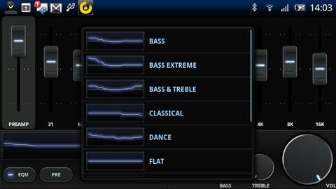 Xperia(エクスペリア)で画面キャプチャしたミュージックアプリPowerAMPのイコライザのプリセット画面