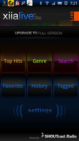 Xperia(エクスペリア)で画面キャプチャしたミュージックアプリXiiaLive Lightの起動画面